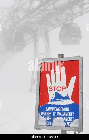 Warning sign, danger of avalanches, Wallberg ski area, Rottach-Egern, Upper Bavaria, Bavaria, Germany - Stock Photo
