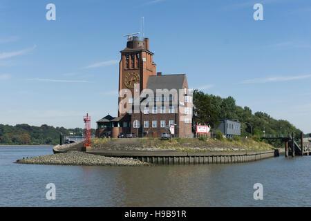 Headquarters of the Hamburg Harbour Pilots' Association in the pilots' house at Seemannshöft, Hamburg, Germany - Stock Photo