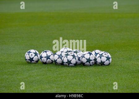 Game balls with Champions League logo, Allianz Arena, Munich, Bavaria, Germany - Stock Photo