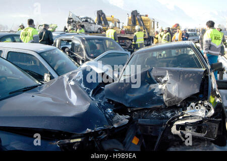Demolished cars, traffic accident on autobahn, pile-up on road with black ice, Ohlstadt, Upper Bavaria, Bavaria, - Stock Photo