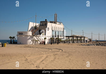 Boo bar and restaurant on the beach in Poblenou, in Barcelona, Spain - Stock Photo