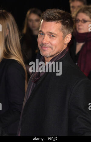 London, UK. 21 November 2016. American actor Brad Pitt attends the UK premiere of Allied, the World War II romantic - Stock Photo