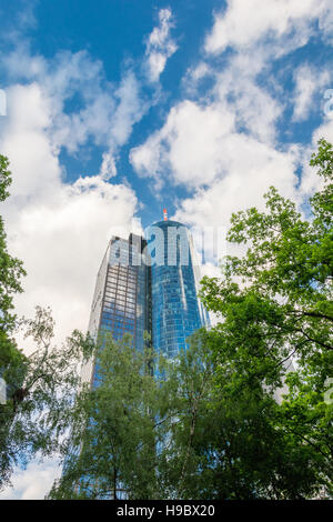 FRANKFURT AM MAIN, GERMANY - MAY 19, 2016: Skyscrapers of Frankfurt am Main. Frankfurt am Main is a dynamic and - Stock Photo