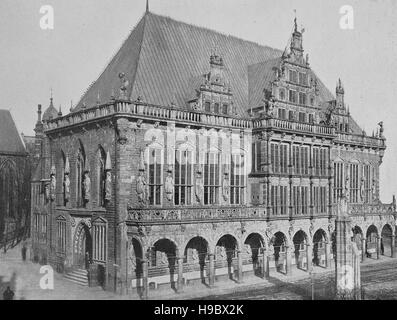 the townhall of Bremen, Germany, in the year 1600, historical illustration - Stock Photo