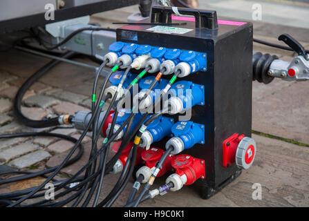 KES PD40   Temporary electrical installations with range of industrial plugs & sockets, with exposed wiring supplying - Stock Photo