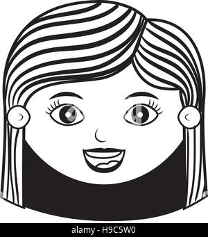 front face woman silhouette with hair striped vector illustration - Stock Photo