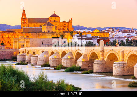 Cordoba, Spain. Roman Bridge and Mosque-Cathedral on the Guadalquivir River. - Stock Photo