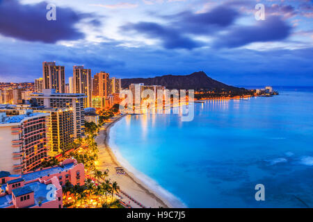 Honolulu, Hawaii. Skyline of Honolulu, Diamond Head volcano including the hotels and buildings on Waikiki Beach. - Stock Photo