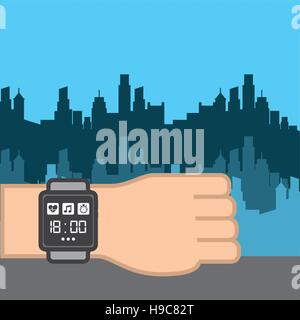 human hand with smart watch for sport over city background. colorful design. vector illustration - Stock Photo