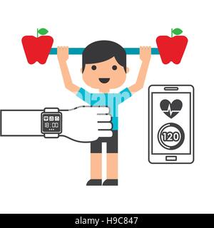 cute guy with dumbbells with apple shape and smartphone and smart watch for sport over white background. fitness - Stock Photo