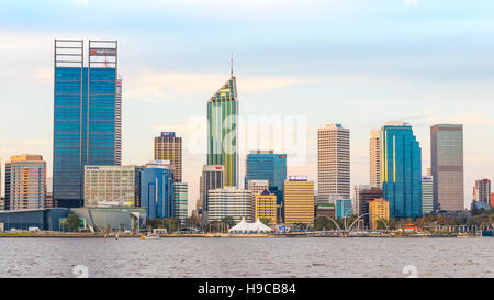 Late afternoon in the city of Perth, the capital of Western Australia. The Swan River can be seen in the foreground. - Stock Photo