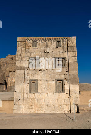 The tower knows as the kabah of zoroaster in naqsh-e rustam necropolis, Fars province, Shiraz, Iran - Stock Photo