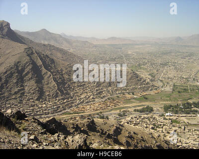 28th May 2004 Viewed from the top of the Asmai Heights (TV hill): an aerial view of Kabul, looking to the south. - Stock Photo