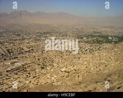 28th May 2004 Viewed from the top of the Asmai Heights (TV hill): an aerial view of Kabul, looking to the south - Stock Photo