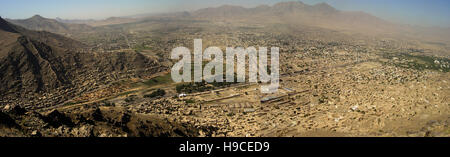 28th May 2004 Viewed from the top of the Asmai Heights (TV hill): a panoramic aerial view of Kabul, looking to the - Stock Photo