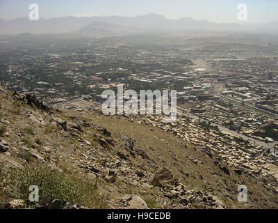 28th May 2004 Viewed from the top of the Asmai Heights (TV hill): an aerial view of Kabul, looking east north-east. - Stock Photo