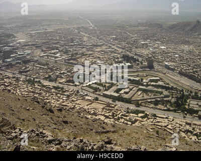 28th May 2004 Viewed from the top of the Asmai Heights (TV hill): an aerial view of Kabul, looking to the east. - Stock Photo