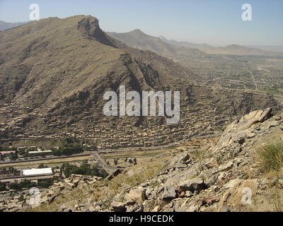 28th May 2004 Viewed from the top of the Asmai Heights (TV hill): an aerial view of Kabul looking to the south. - Stock Photo