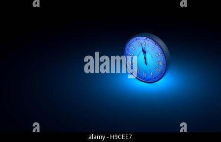 One blue circular clock. Available in high-resolution and several sizes. Black art background layout with free text - Stock Photo