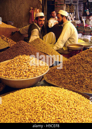 28th May 2004 Spice-traders at their stall inside the Ka Farushi bazaar in Kabul, Afghanistan. - Stock Photo