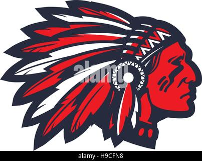 American native chief head mascot. Vector logo or icon - Stock Photo
