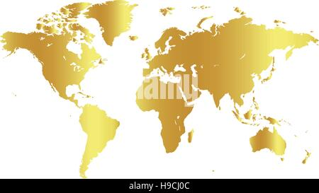 Golden color world map on white background. Globe design backdrop. Cartography element wallpaper. Geographic locations - Stock Photo