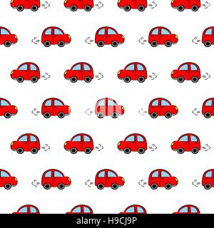 Seamless vector pattern with cute little red cars - Stock Photo