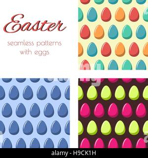 Set of seamless patterns with multicolored eggs. Easter background.