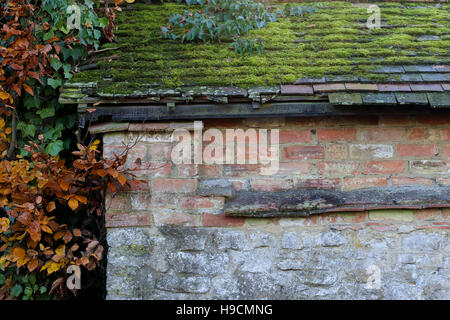 Old roof tiles covered with moss and leaves on old brick and stone wall, autumn leaves on a side - Stock Photo