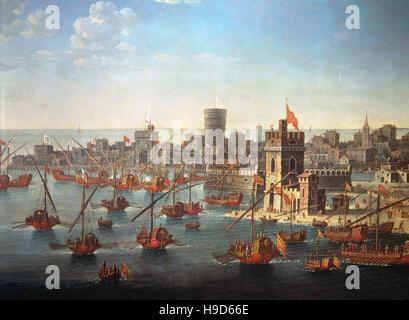 Anonymus 16th century , The Doge of venice Bartolomeo Gradenigo with the Venetian fleet in the century of Chioggia - Stock Photo