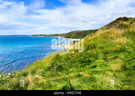 View over Weymouth Bay from the South West Coast Path, Dorset, England, UK - Stock Photo