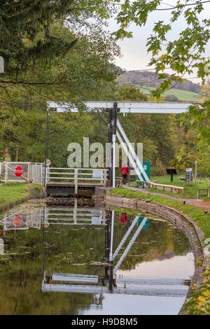 Autumn on the Monmouthshire & Brecon Canal at Talybont-on-Usk lift bridge, Brecon Beacons National Park, Wales, - Stock Photo