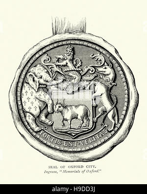 Seal of Oxford city showing the Coat of arms of Oxford - Stock Photo