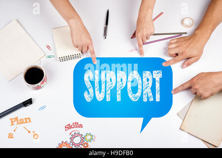 Support Donations Charity Volunteer Care Welfare Concept. The meeting at the white office table - Stock Photo