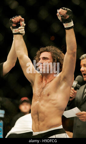 Clay Guida celebrates his victory over Justin James at the Ultimate Fighting Championships (UFC) 64 at the Mandalay - Stock Photo