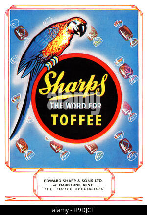 1947 British advertisement for Sharps Toffee - Stock Photo