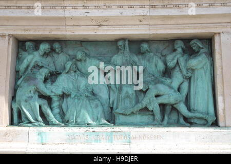 Bronze relief of King Matyas Corvinus, colonnade of the Millennium Monument, Heroes' Square (Hosok tere), Budapest, - Stock Photo