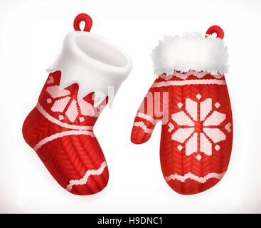 Christmas sock and winter knitted mitten. 3d vector icon - Stock Photo