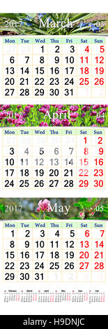 office triple calendar for March April and May 2017 with photo of nature - Stock Photo
