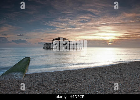 Remains of the West Pier at sunset, Brighton, East Sussex, England, Uk, Gb - Stock Photo