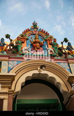 Detail of the entrance to a Hindu temple in Kanadukathan village in Chettinad, India. - Stock Photo