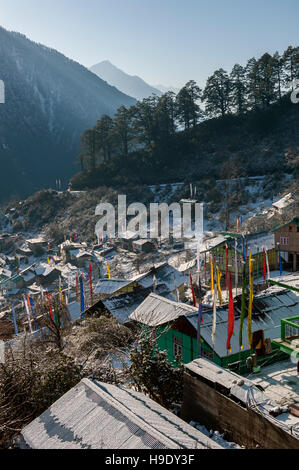 Early morning view over Lachen village in North Sikkim, India. - Stock Photo