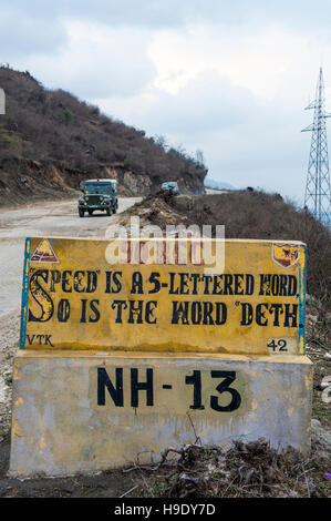 A misspelled road sign on the road to Tawang, a remote valley in northern Arunachal Pradesh, India - Stock Photo