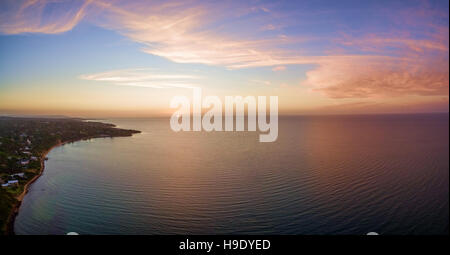 Aerial panorama of beautiful sunset over Mornington Peninsula coastline. Melbourne, Australia. - Stock Photo