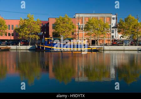 Barge in Seneca Canal, Seneca Falls, New York - Stock Photo