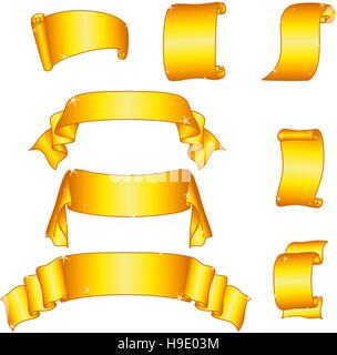 Golden Banners, Set - Stock Photo