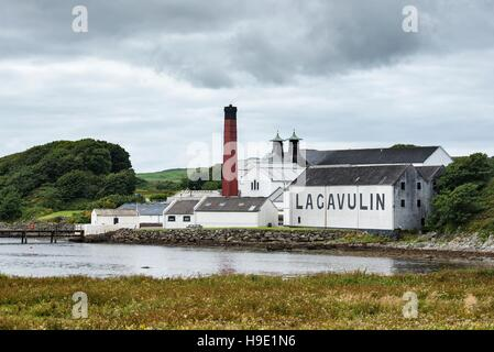 Lagavulin whiskey distillery, Islay, Inner Hebrides, Scotland, United Kingdom - Stock Photo