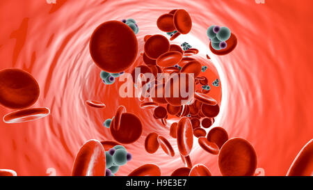 Glucose Molecules in a Bloodstream. 3D illustration. - Stock Photo