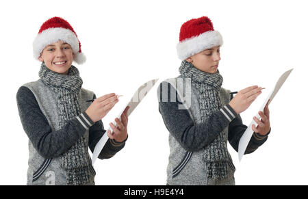 Cute teenager boy in gray sweater over white isolated background - Stock Photo