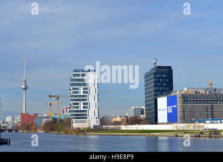 Cityscape view over the river Spree from Kreuzberg district with the TV Tower in the background, Berlin, Germany - Stock Photo
